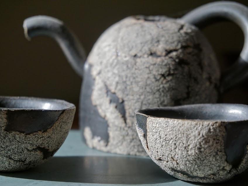 photo: Kyoto tea set and Tierra del Fuego rock
